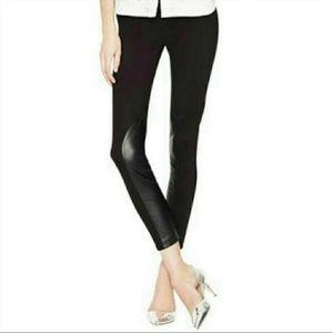 J. Crew Gigi black skinny pants Leather paneling